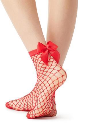 Итальянские красные носки из сетки с бантиками calzedonia