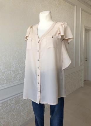 Блуза легкая, бежевая , кофейная, золотые пуговицы, м, l