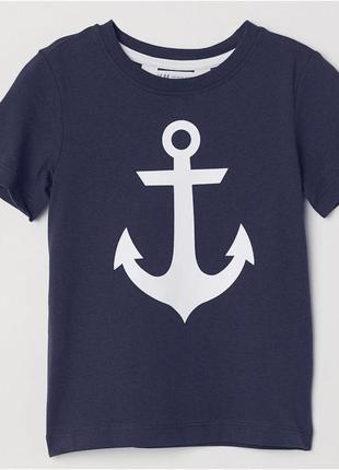 "Новая темно-синяя футболка ""якорь"", h & m, 0594581"