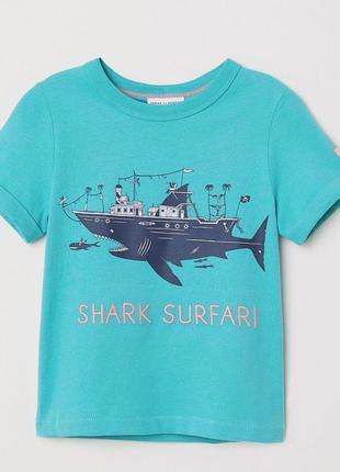 Новая темно-бирюзовая футболка с принтом для мальчика, h&m, 0650564