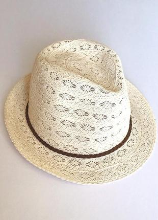 Кружевная коттоновая женская шляпа челентанка, федора, c&a, 54-56