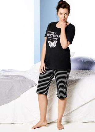 Женская пижама из футболки и длинных шорт