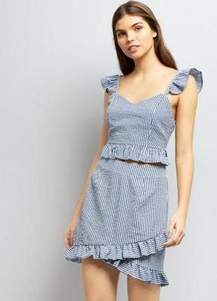 Стильная юбка с рюшами в клетку new look s-m