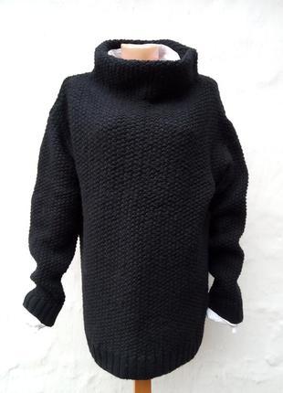 Вязаный черный свитер oversize,крупная вязка,пуловер,шерстяной,ворот хомут.