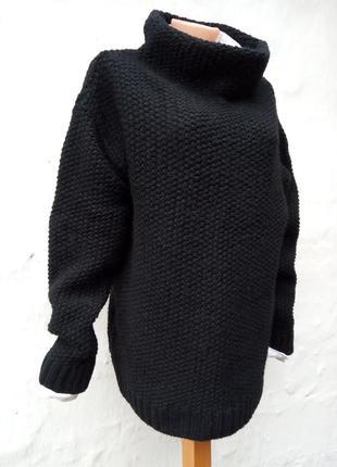 Вязаный черный свитер oversize,крупная вязка,пуловер,шерстяной,ворот хомут.3
