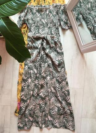 Платье миди на сарафан резинке на плечи с разрезами по боками primark