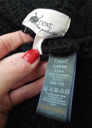 Вязаный черный свитер oversize,крупная вязка,пуловер,шерстяной,ворот хомут.4