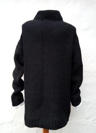 Вязаный черный свитер oversize,крупная вязка,пуловер,шерстяной,ворот хомут.5