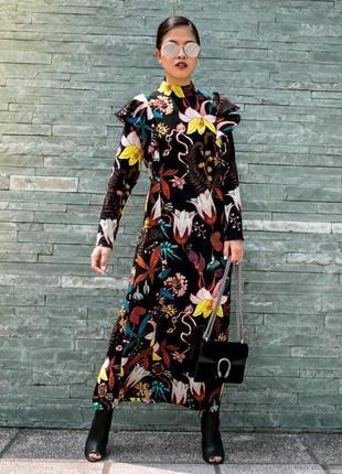 Платье миди в цветы h&m размер м