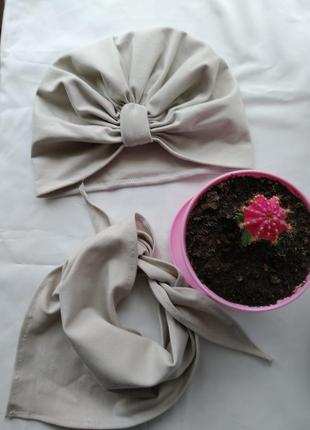 Трикотажный комплект шапочка и платок арафатка