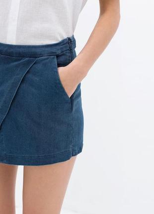 Крутые шорты-юбка из денима zara
