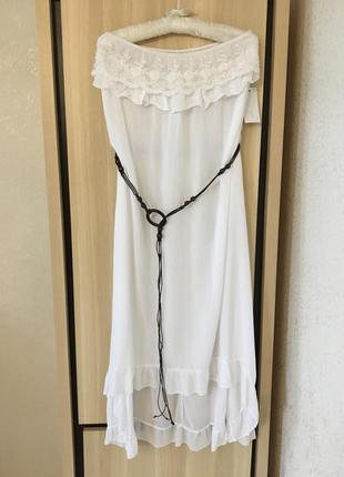 Платье натуральное штапель с кружевом сарафан с рюшей воланом