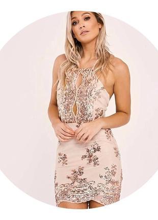 Шикарное платье в пайетки с открытой спинкой