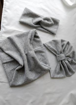Трикотажный набор шапочка и снуд, чалма, хомутик