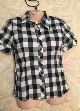 Стильная футболка рубашка в клетку из италии