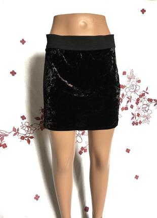 Крутая актуальная мини юбка из велюра 1+1=3 🎁3 фото