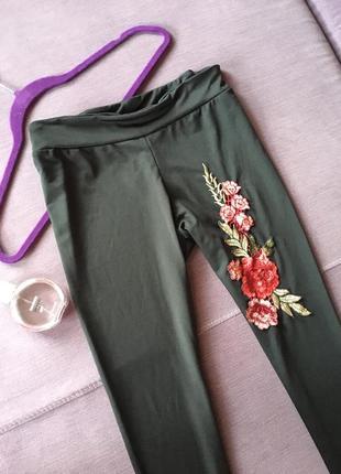 Красивые лосины с вышивкой lanshifei