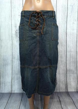 Юбка джинсовая макси saix, качество, отл сост!