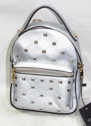 Маленький рюкзак-клатч 561 серебро