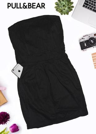 Дефолтное черное коктейльное платье с поясом pull&bear