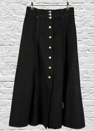 Черная юбка расклешенная, длинная юбка андеграунд, пышная юбка миди с разрезом