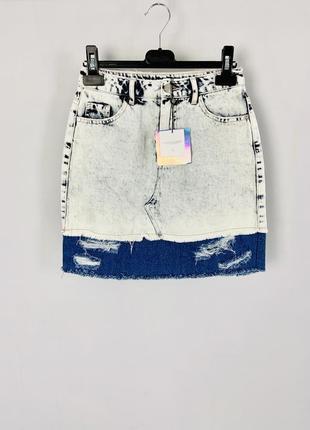 Клевая качественная коттоновая джинсовая короткая юбка на высокой посадке missguided