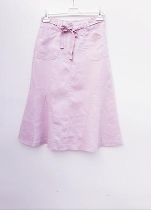 Нежно розовая юбка лён льняная юбка миди с карманами