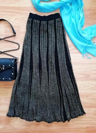Актуальная брендовая вязаная юбка миди zara c люрексом - размер 42-44