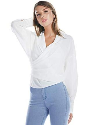 Обнова! рубашка белоснежная блуза на запах качество