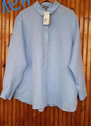 Лён! премиум качество! большой размер.  рубашка, блуза h&m. батал.
