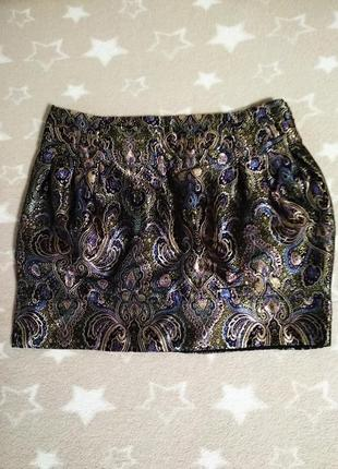 Нарядная мини юбка боченок из парчи от river island, p. 8