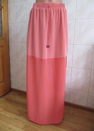 Летняя коралловая юбка-макси от topshop