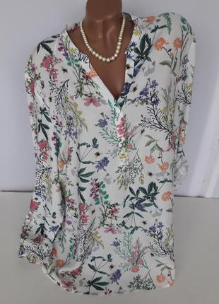 Оригинальная блуза в луговые цветы и насекомые