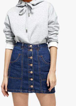 Джинсовая юбка с пуговицами