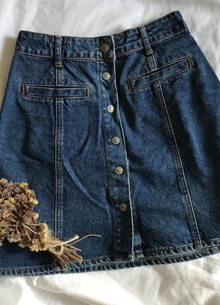 Джинсовая юбка с пуговицами3