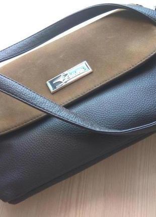 Кожаный вместительный клатч на 5 отделов коричневый