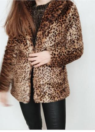 Мягкая  теплая леопардовая шубка