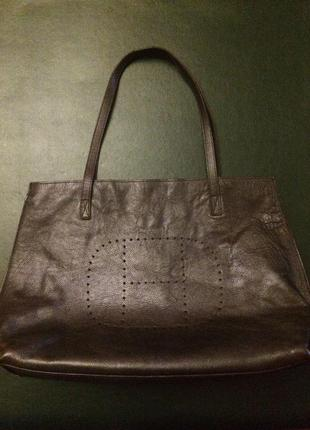 Большая кожаная коричневая сумка шоппер hermes натуральная кожа шкіряна
