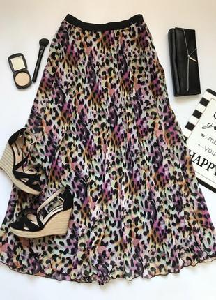Плисированная макси юбка в леопардовый принт от atmosphere размер l/12/40.