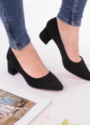 Черные замшевые туфли лодочки на удобном каблуке