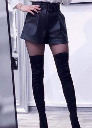 Кожаные шорты под пояс с пряжкой от zara! размер м