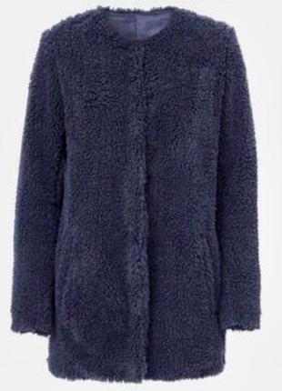 Синяя шуба,шубка пальто меховое эко овчина барашка плюшевая teddy bear от hema