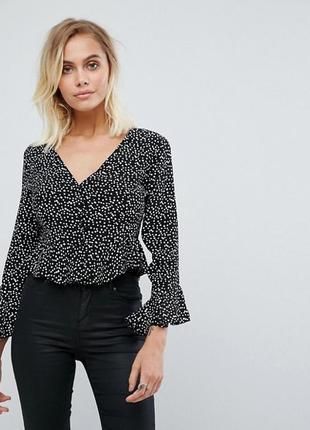 🌿 трендовая блузка в горошек на пуговицах от topshop