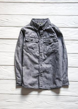 Серая джинсовая рубашка с принтом ⚡️⚡️⚡️ от тu