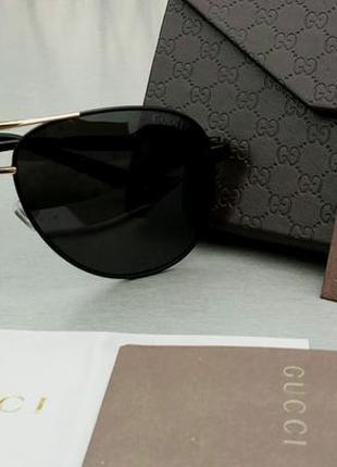 Gucci очки мужские солнцезащитные капли поляризированые черные