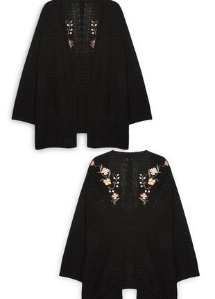 Теплый кардиган кимоно с вышивкой размер xl/xxl