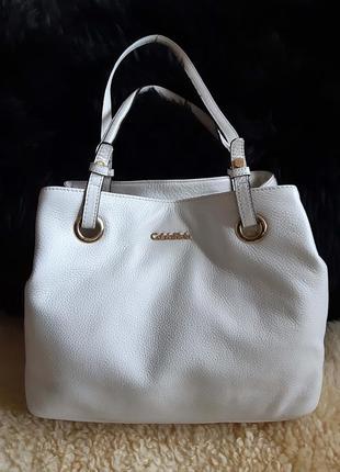 Женская сумка белая кожа calvin klein   оригинал