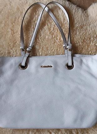 Женская сумка белая кожа calvin klein   оригинал10 фото
