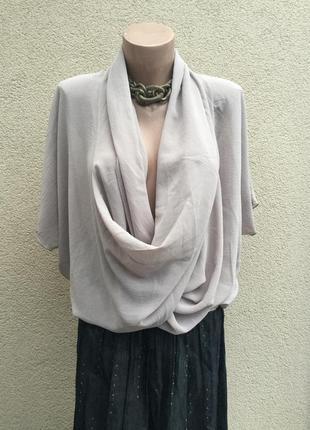 Легкая,шелковая,прозрачная блуза-реглан,летучая мышь,ворот хомут,италия