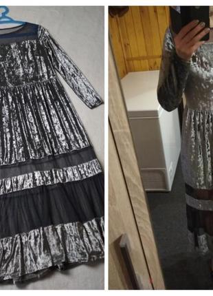 Шикарное бархатное платье,серебро, италия, р. 6-10
